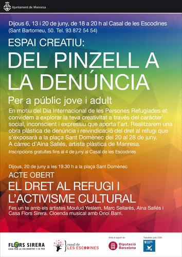 """Espais Creatius ofereix """"Del pinzell a la denúncia"""", una proposta d'arts plàstiques per reivindicar el dret al refugi"""