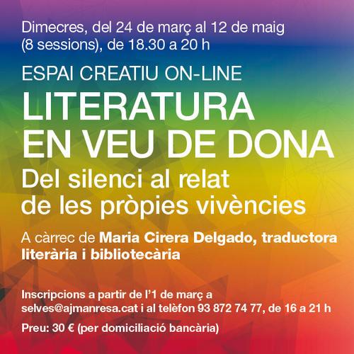 S'obren les inscripcions per al nou Espai Creatiu on-line «Literatura en veu de dona. Del silenci al relat de les pròpies vivències»
